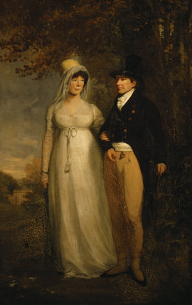 `PENELOPE BLATHWAYT AND HER HUSBAND JEREMIAH PIERCE CRANE' a double portrait, artist unknown, English early C19th