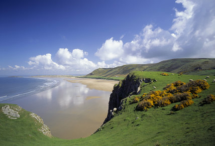 The magnificent curving sandy Rhossili Beach, with Rhossili Down behind