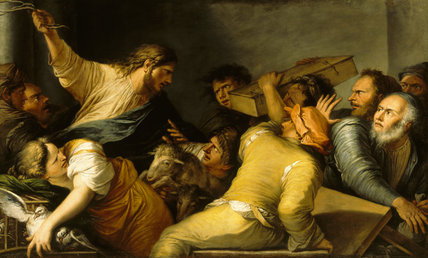 CHRIST EXPELLING THE MONEY CHANGERS FROM THE TEMPLE by Salvator Rosa (1615-1673)