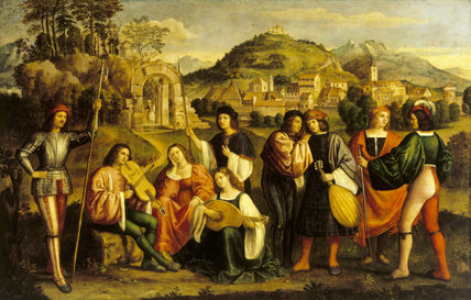 `THE COURT OF QUEEN CATERINA CORNARO AT ASOLO' (86), from the Venetian School C19th