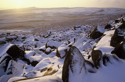 Hathersage Moor in snow at Longshaw Estate