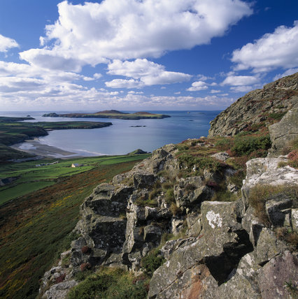 View from Carn Llidi, on St David's Head, over Whitesands Bay towards Ramsey Island at St Bride's Bay
