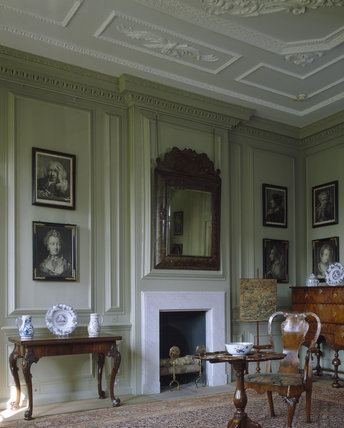 A corner of the Green Room showing the bolection panelling