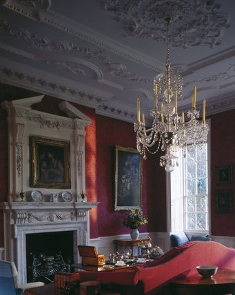 The Drawing Room looking toward the marble fireplace and carved overmantel