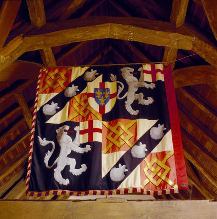 Winston Churchill's standard hanging in the Study at Chartwell