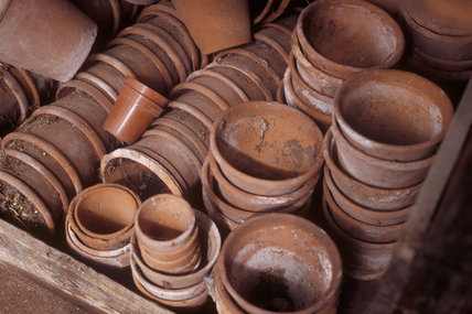 Plant pots piled up in the shed at Anglesey Abbey
