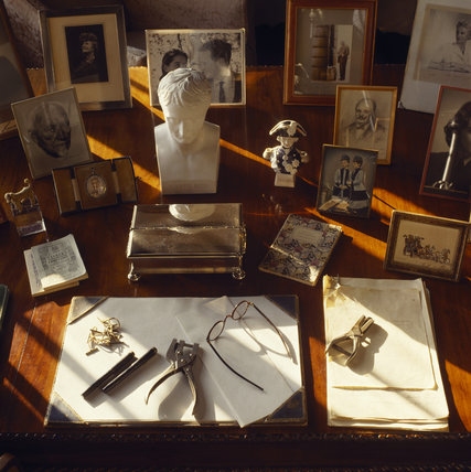 Close up of Churchill's desk in the Study at Chartwell