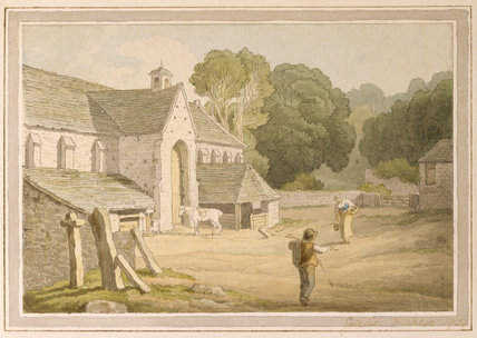 THE GREAT BARN at Buckland Abbey painted c 1800