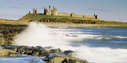 View of Dunstanburgh Castle taken from the south (Craster) side in morning light