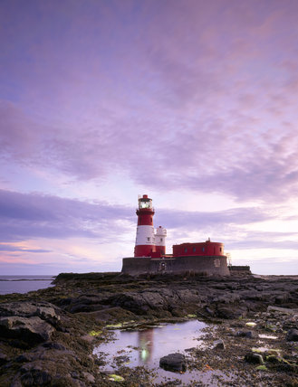 Longstone Lighthouse on the Farne Islands photographed in pale light