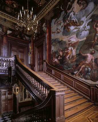 View of Grand Staircase leading up to the first floor State Rooms at Powis Castle