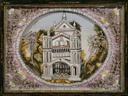 Shell picture of a church, 18th-century, possibly Italian or Portuguese, A La Ronde, Devon