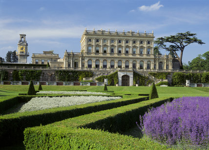 View of Cliveden House from the garden, showing the Italianate palace built by Sir Charles Barry in 1850-1 and the geometric parterre