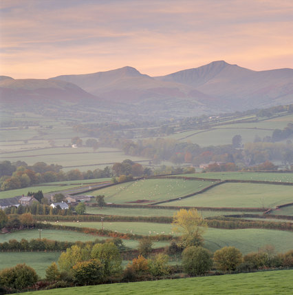 A rosy glow hangs over the Beacons seen from Llechfaen looking south west across the Usk Valley to the central area