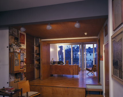 View from the Studio into the Living Room at 2 Willow Road with the partition doors folded back