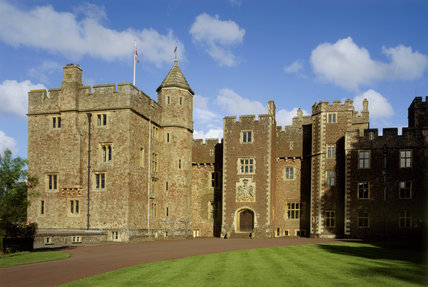 View of the entrance on the North Front of Dunster Castle in Somerset which was rebuilt 1862-72 by Salvin