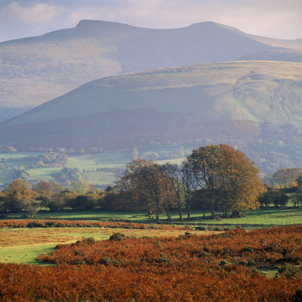 Highest peaks of the Beacons, Pen Y Fan and Corn Du, seen to the N