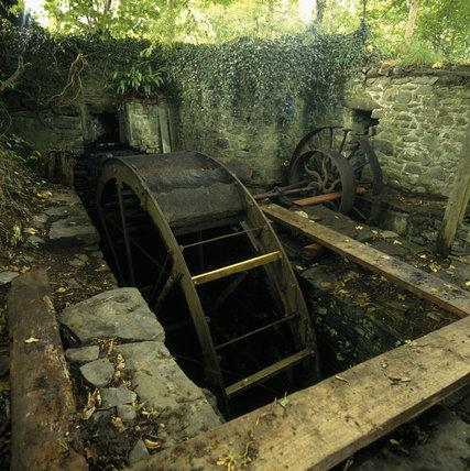 The water wheel near Llanerchaeron House now being restored