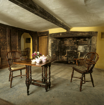 The Hall at Marker's Cottage, showing the fireplace which was added c. 1530
