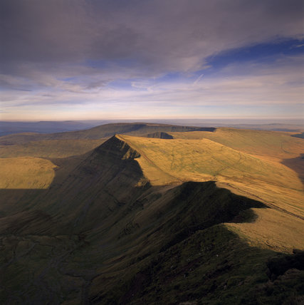 View looking east from Pen Y Fan to the summit of Cribyn with Fan Y Big and Craig Cwareli beyond