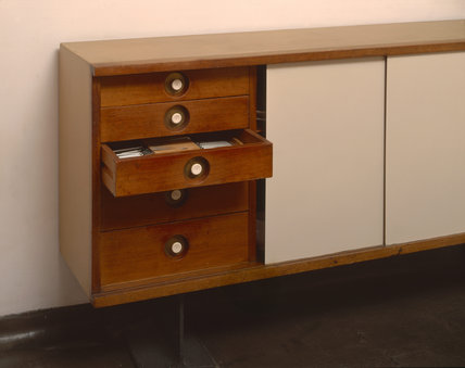 Detail of the sideboard in the Dining Room at 2 Willow Road designed by Erno Goldfinger