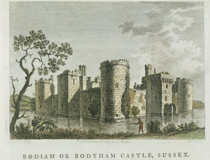 Aquatint engraving of Bodiam Castle by S. Hooper c.1777