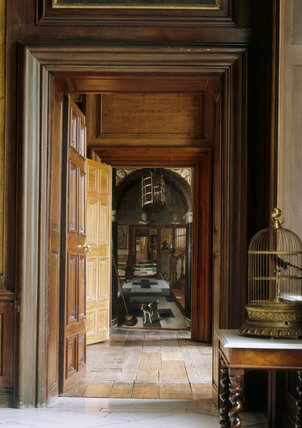 A View Down A Corridor At Dyrham Park With The Painting A
