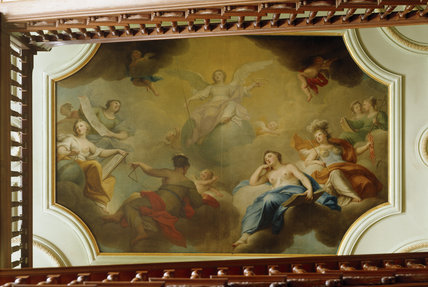 The angelic, painted ceiling at the top of the Cedar Staircase at Dryham Park