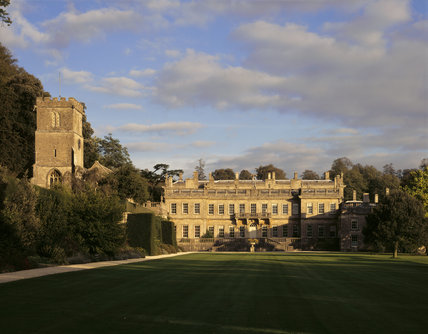 The view across the gardens towards the West Front of Dyrham Park on a bright, Autumn's day