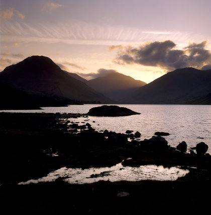 Wastwater in spectacular dawn light, three summits in the background are, left to right, Kirkfell, Great Gable and Lingmell