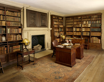 View of the Book Room at Canons Ashby created by Sir Henry Dryden the Antiquary, with neo-Gothic bookshelves, built in the 1840s and 50s