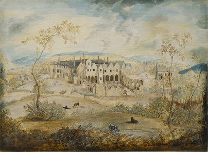 HAILES ABBEY by Thomas Robins, a watercolour landscape view of the Abbey in the pastoral tradition