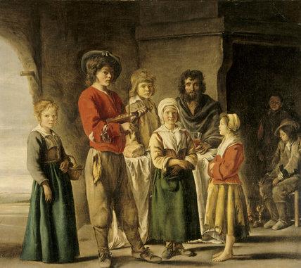 `PEASANT FAMILY' by the Lenain Brothers (fl. circa. 1625-77).