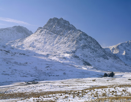 Snow covered view of Tryfan and Ogwen Valley in Carneddau, Snowdonia