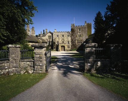 The north west front of the Castle, seen through the entrance gates