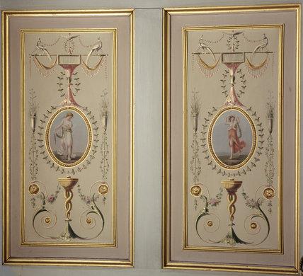 Wall panels in the Boudoir, Attingham Park