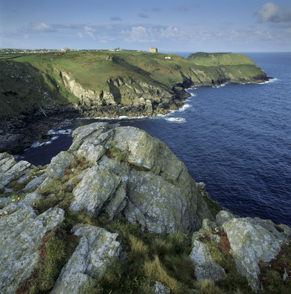 From Willapark Head showing almost all Neptune property sweeping away south-westwards culminating in Barras Nose with Tintagel Castle