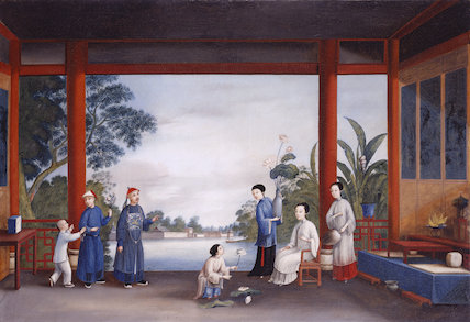 One of a set of six late C18th Chinese gouache paintings for the European market, in the Gothic or Blue Room at Claydon House