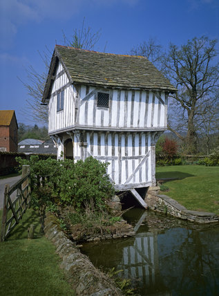 The beautiful timber framed Gatehouse, at Brockhampton, sitting astride the moat, it leads to the late C14th