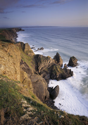 A view from the Cornish cliffs to Sandy Mouth looking south