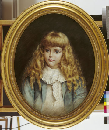 HON. VICTOR ONSLOW AS A CHILD, by E.Mitchell, Pastel, oval, at Clandon in the Red Stairs store,post-restoration.