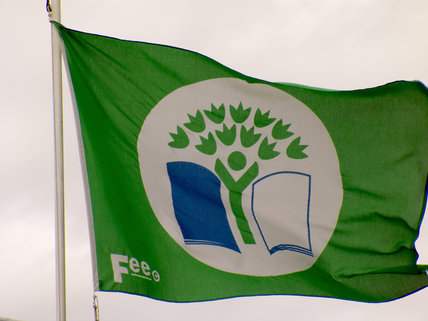 F.E.E. flag flying over the Stackpole Education Centre.