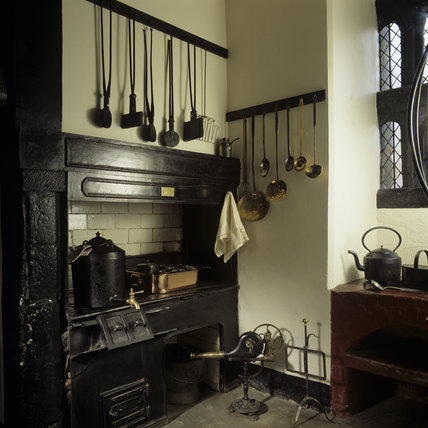 A detailed close up of the range in the Kitchen at Speke Hall