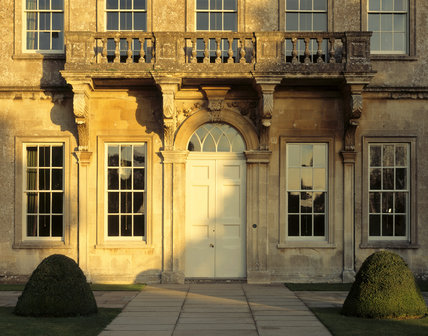 A detailed close up of the West Front of Dyrham Park on a bright, Autumn's day