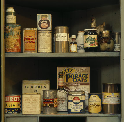 Dunham Massey, original food in the store cupboard in the kitchen