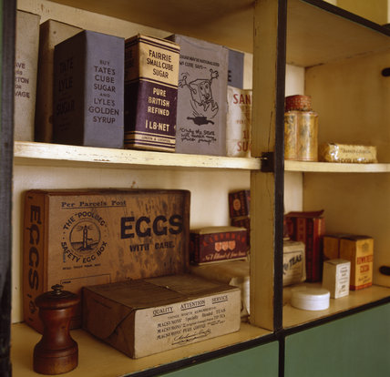 The Kitchen at 59 Rodney Street, Liverpool, the E. Chambre Hardman Studio, House and Photographic Collection - showing grocery items in a store cupboard.