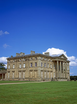 An oblique view from the south west of the house at Attingham Park