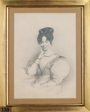 SARAH D'ISRAELI, Disraeli's sister (d. 1859) by Daniel Maclise, R.A. May 1828 at Hughenden Manor in the Disraeli Room.