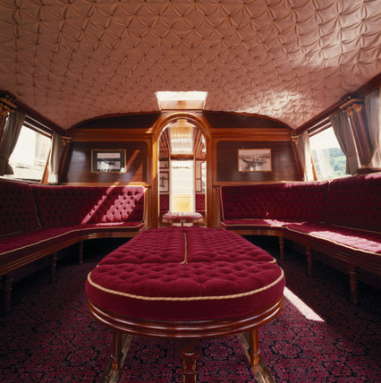 View of the restored interior of the Gondola on Coniston Water, facing towards the stern of the boat