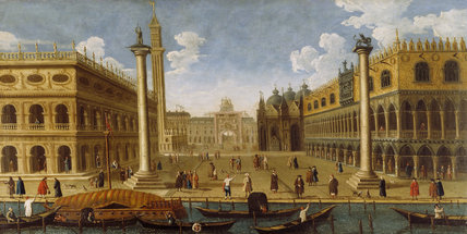 18TH CENTURY VIEW OF VENICE,TOWARDS ST MARK'S SQUARE WITH THE DOGES PALACE ON THE RIGHT - artist unknown